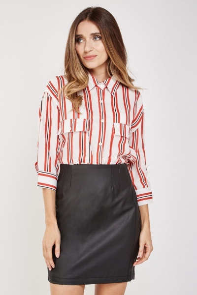 Flap Pockets Front Striped Shirt