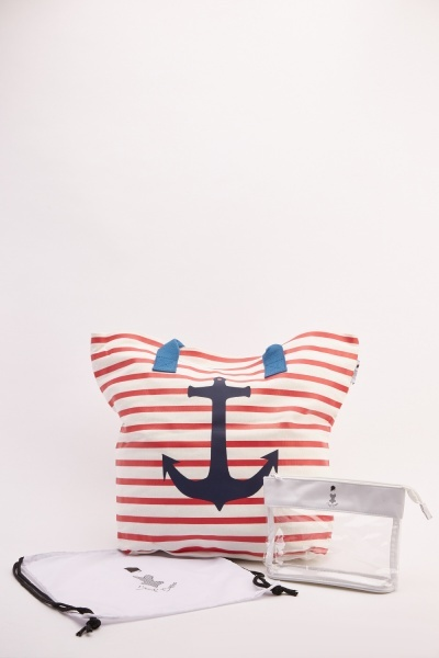 Anchor Stripe Print Tote Bag Set