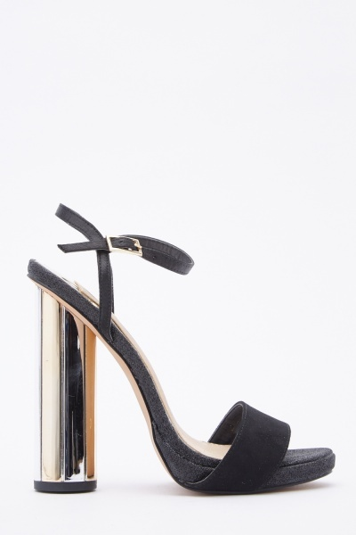 Mirrored Heel Suedette Sandals
