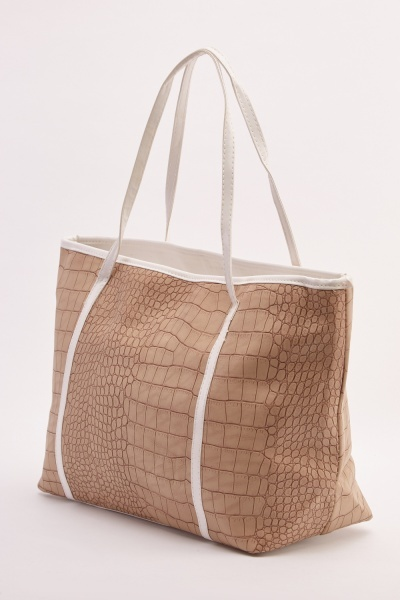 Mock Croc Textured Tote Bag