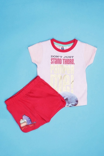 Pets Graphic Front Top And Shorts Pyjama Set