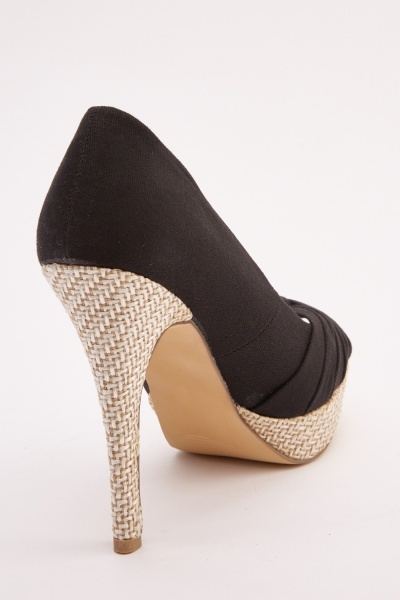 Ruched Basket Weave Trim Heels