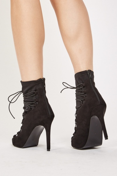 Suedette Contrasted  Lace Up Boots