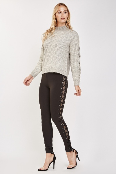 Contrasted Lace Up Side Thick Leggings