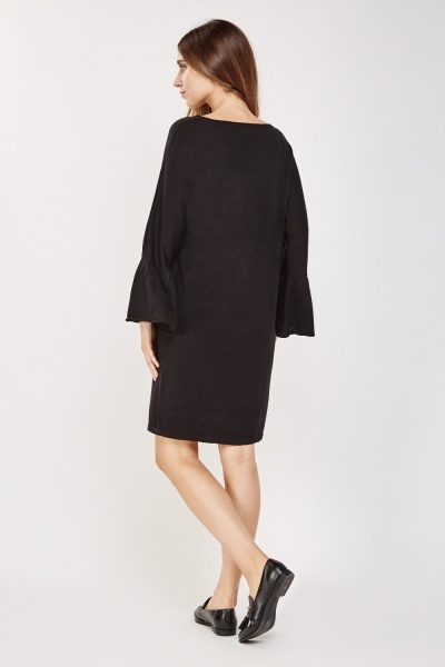 Knitted Flute Sleeve Dress