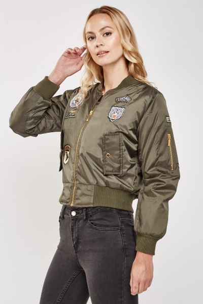 Military Patch Trim Bomber Jacket
