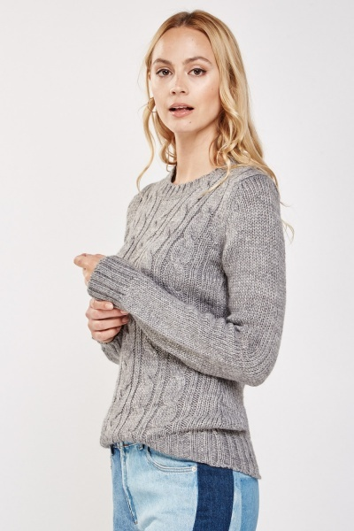 Pleated Cable Knit Jumper