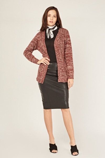 Cable Knit Contrast Cardigan