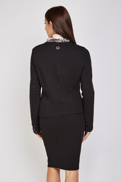 Contrasted Button Front Blazer
