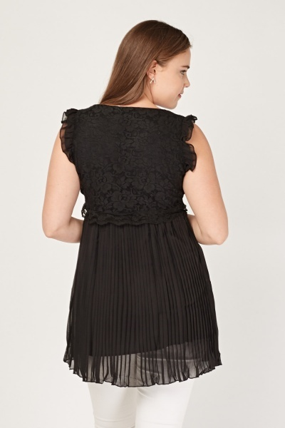 Crochet Lace Overlay Pleated Top