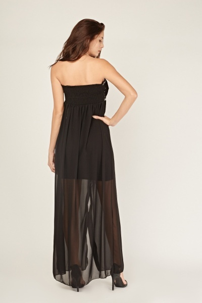 Embellished Sheer Bandeau Maxi Dress