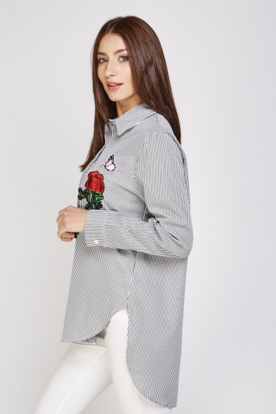 Embroidered Applique Stripe Shirt