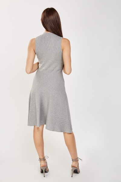 High Neck Ribbed Swing Dress