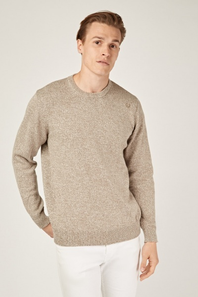 Long Sleeve Speckled Knit Sweater