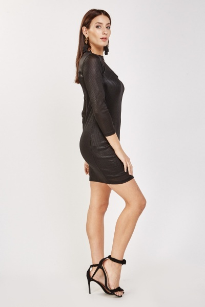 Metallic Insert Cut Out Front Dress