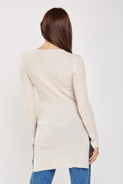 Slit Side Ribbed Long Sweater
