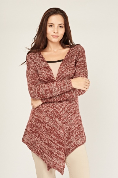 Speckled Knit Waterfall Cardigan