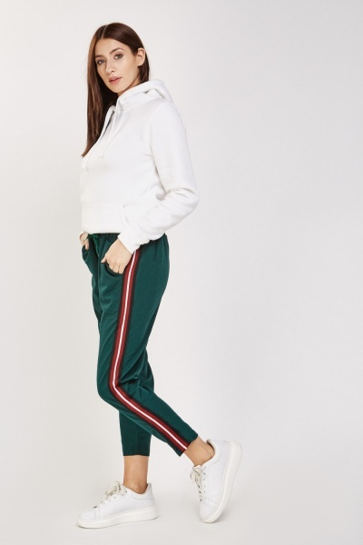 Striped Side Ankle Cropped Trousers