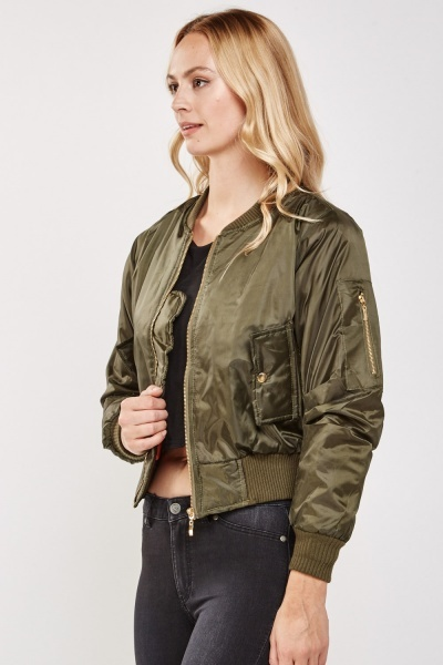 Zip Up Ruched Sleeve Bomber Jacket