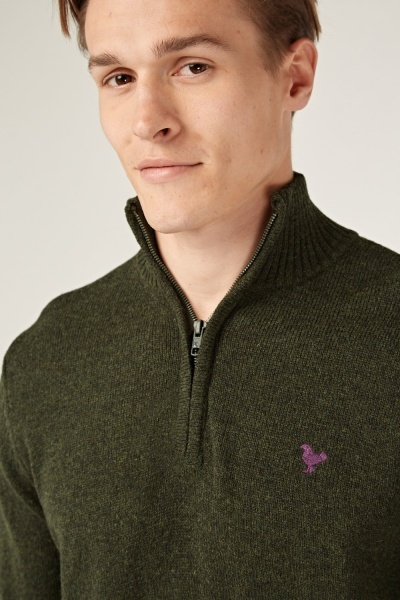 Zipped Neck Knitted Jumper