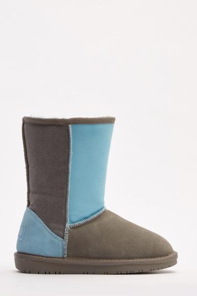 Colour Block Suedette Winter Boots