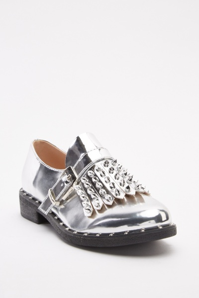 Metallic Studded Buckled Loafers