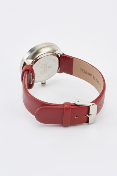 Red Faux Leather Strap Watch