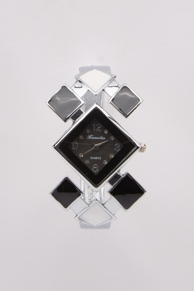 Cut Out Colour Block Bangle Watch