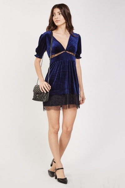 Lace Trim Velveteen Babydoll Dress