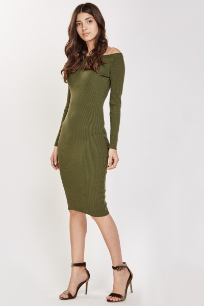 Off Shoulder Midi Bodycon Dress