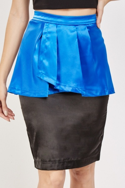 Pleated Overlay Pencil Skirt