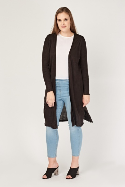 Ribbed Contrast Long Knit Cardigan