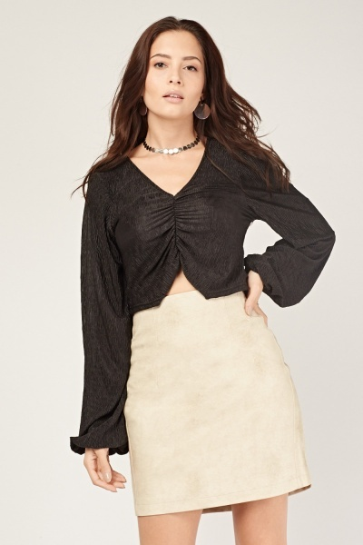 Ruched Front Crinkled Top