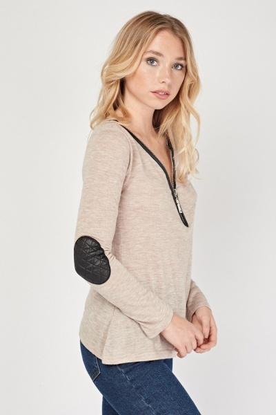 Zipped Front Casual Top