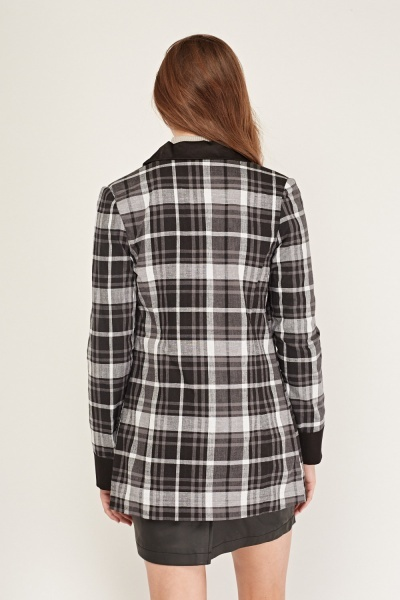 Double Breasted Long Tartan Blazer