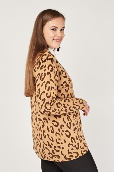 Leopard Print Knitted Cardigan