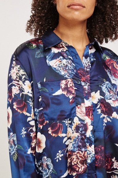 Long Sleeve Floral Print Blouse