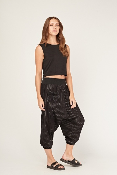 Metallic Stripe Crop Harem Pants