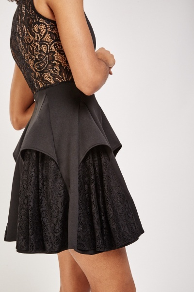 Pleated Lace Insert Skater Dress