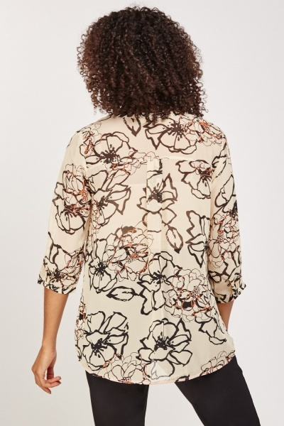 Sheer Floral Casual Blouse