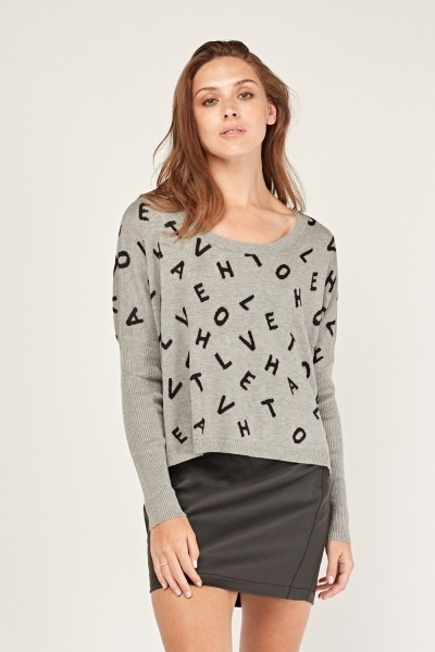 Alphabetical Letter Knitted Jumper