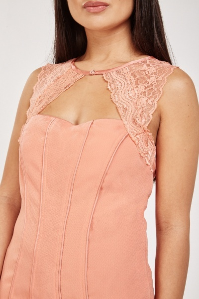 Lace Insert Corset Top