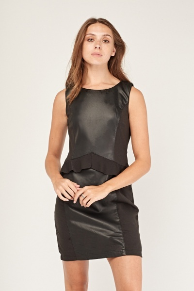 Peplum Faux Leather Contrast Dress