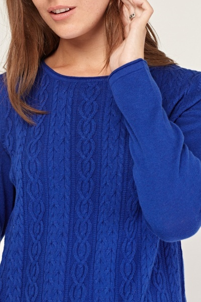 Platted Knit Front Sweater