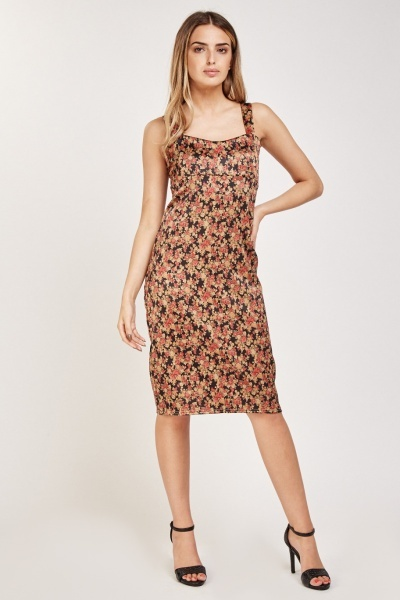 Vintage Calico Print Midi Dress