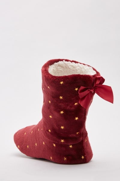 Gold Lurex Star Slipper Boots