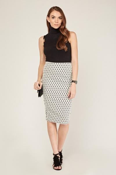 High Waist Textured Midi Skirt