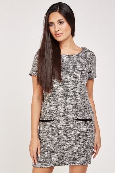 Pockets Front Tweed Shift Dress