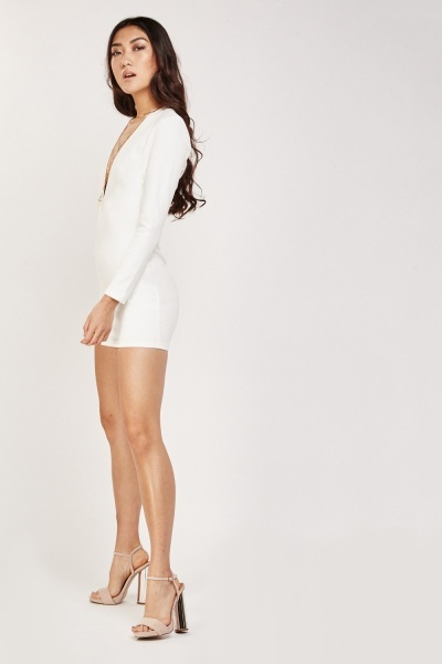 Low Plunge Textured Bodycon Dress