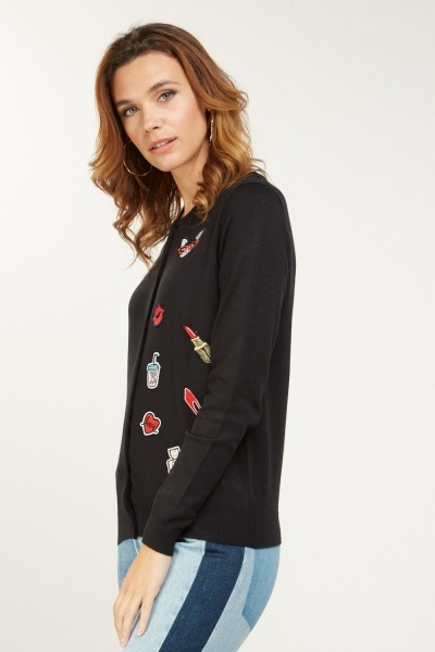 Novelty Patch Trim knitted Cardigan